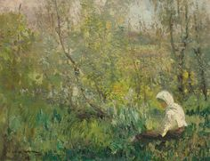 Peasant Woman Resting, 1915 by Arthur Verona. Art Database, Verona, Impressionism, Roman, Artwork, Pictures, Europe, Paintings, Oil
