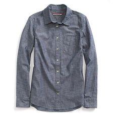 Tommy Hilfiger Popover Denim Shirt ($55) ❤ liked on Polyvore featuring tops, tommy hilfiger tops, tommy hilfiger shirts, shirt top, denim shirt and tommy hilfiger