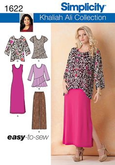 Simplicity 1622 Misses' & Plus Size knit tank dress & peplum top have scoop neck. Dress has slit; top can be made with 3/4 or short sleeves. Tunic has dropped shoulder. Pull on pants have elastic waist.