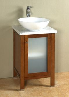 Vessel Sink And Cabinet Option For Powder Room