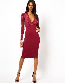 dcc6897e Asos Stud Top Deep Plunge Midi Dress - Lyst Midi Dresses, World Of Fashion,