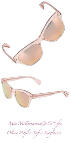 Oliver Peoples 'Sofee' Pink Transparent Frames and Rose Gold Mirrored Lenses
