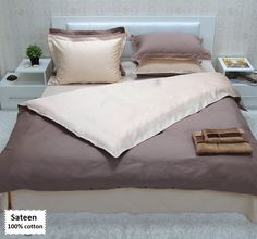 Light Brown Bedding Sets Queen Size Sateen 100% Cotton, Light Brown Duvet Covers Queen Size 4 or 5 Pieces