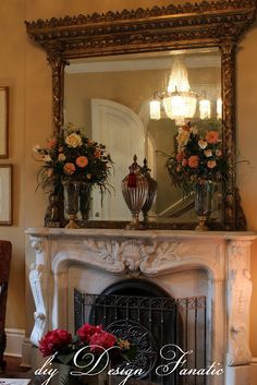 gilt, gold, Victorian mantle Fancy Mirrors, I Love Mirrors, Antique Mirrors, Decorative Mirrors, Victorian Interiors, Modern Victorian, Victorian Decor, Victorian Homes, Victorian Fireplace Mantels