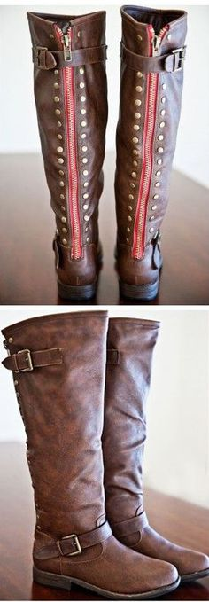 Walk This Way Boots in Brown with Red Zippers #boots #shoes #fashion