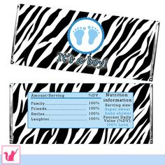 INSTANT DOWNLOAD Zebra Blue Baby Feet Baby Shower Party Candy Bar Wrapper - Its A Boy Party Favors DIY Baby Shower Decorations Treads Prints