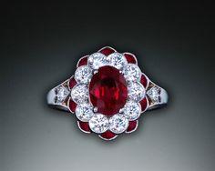 Michael Schofield Art Deco Ruby and Diamond Ring Art Deco Jewelry, Vintage Jewelry, Jewelry Design, Michael Schofield, Antique Diamond Rings, Semi Precious Gemstones, Fashion Jewelry, Bling, Jewels