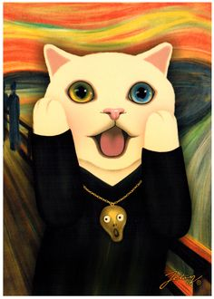 Jetoy Choo Choo Cat Postcard: Scream