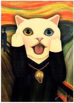 Jetoy Choo Choo Cat Postcard: Scream