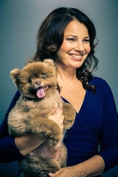 Fran Drescher and Pomeranian Esther.