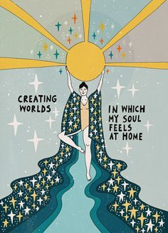Creating worlds Sticker by Asja Boros – White – - astrologie Illustration Art, Illustrations, Happy Words, Pretty Words, Wall Collage, Framed Art Prints, Inspire Me, Art Inspo, Whimsical