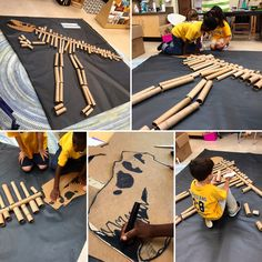 kindergarten students build a giant T-Rex out of recycled materials!