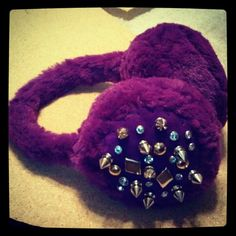 Purple Studded Earmuffs Earmuffs, Success, Glamour, Brooch, Money, Purple, Jewelry, Fashion, Moda
