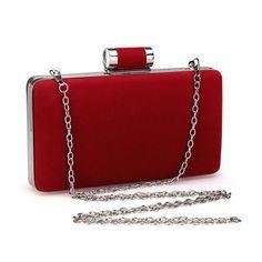 Velvet Box Clutch Bag in Red