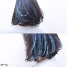 Inner color with blue ensemble - Underdye Hair - Underdye Hair, Bad Hair, Hair Day, Hair Color Streaks, Hair Highlights, Coiffure Hair, Corte Y Color, Aesthetic Hair, Shoulder Length Hair