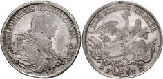Friedrich II., 1740-1786, Reichstaler, 1752 B, Wroclaw, geharn. Breast image to the right, reverse crowned eagle on fittings, Schrötter 183,...