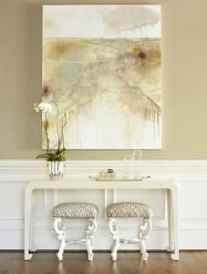 Neutral abstract painting.  Would like beautiful with our dark gray walls and neutral curtains.