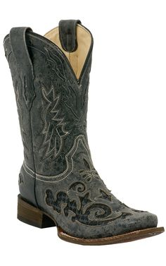 Corral® Men's Vintage Black with Black Python Inlay Exotic Square Toe Cowboy Boots