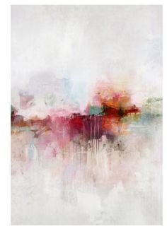 Soft, yet dramatic, this abstract painting has high impact. It's large size combined with it's concentrated colors amidst a quiet neutral and clean white background makes this gorgeous abstract giclee