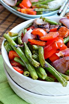 Grilled Asian Green Beans and Red Bell Peppers