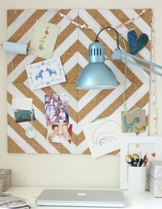 Painted Cork Board DIY | Plan: Hang Separately; Hot-Glue Scrabble Tiles (Spelling Out Names of Family Members) in Entry Way; Hang a Hook Under Each Cork Square for Bags, Coats, etc.