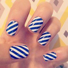 blue white diagonal stripes nail art...Go CATS!