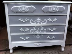 SOLD  French Provincial Dresser by SweetFindVintage on Etsy, $295.00 Paris grey and pure white with pink drawers stenciled in gray damask
