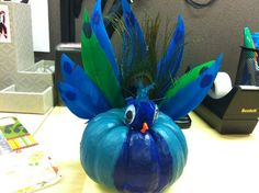 This is my painted peacock pumpkin. I love him.