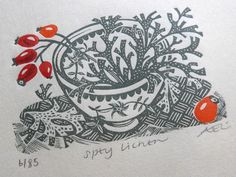 """A detail from Angie Lewin's """"Spey Lichen"""" wood engraving http://www.angielewin.co.uk/collections/current-prints/products/spey-lichen"""