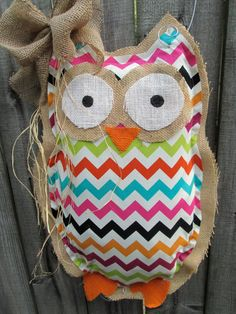 Owl Burlap Door Hanger Bright Chevron Mixed Media by nursejeanneg, $28.00