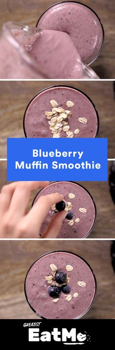 Get your bakery fix from the blender. #healthy #blueberry #smoothie http://greatist.com/eat/blueberry-smoothie-recipe-video