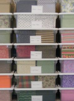 Fabric Collecting & Storage Ideas & a Fat Quarter Star how to from Victoriana Quilt Designs - I need to take the time to organize my studio!  The 3 or 4 giant totes I have fabric piled in are just not cutting it.  Can't see any of it!