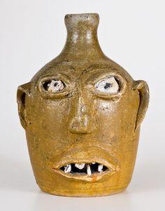 Attrib. Lanier Meaders, Cleveland, GA Early-Period Stoneware Face Jug w/ Rock Eyes and Teeth. Crocker Farm, 07/22/2017, $5310.