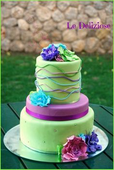 Purple & green - by LeDeliziose @ CakesDecor.com - cake decorating website