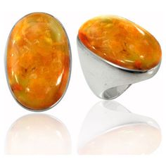 Sterling Silver Ring with Oval Amber Stone (BTS-NRB5973/AMB/R) -... ($84) ❤ liked on Polyvore featuring jewelry, rings, oval ring, amber jewellery, amber jewelry, sterling silver stone jewelry and stone rings
