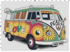 Peace Hippie VW Bus Counted Cross Stitch Pattern, Instant Download PDF by KustomCrossStitch on Etsy