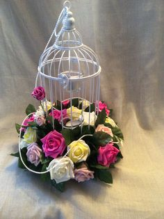 Poly foam bird cage display by Cathey's flowers