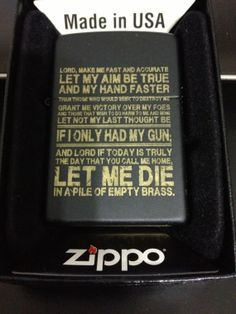 Gun prayer zippo