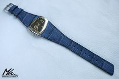 Custom made, blue caiman strap for Elixa watch www.mkleathers.pl