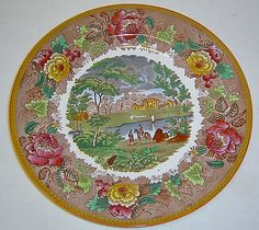 Antique-Wedgwood-Etruria-Landscape-Multi-Color-Cabinet-Dinner-Plate-w-Roses