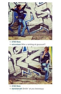 Instagram accounts from daniela ruah and eric olsen (of each other) behind scenes graffiti
