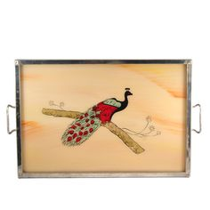 1930s Vintage Reverse Painted Peacock Cocktail Tray available at The Hour and TheHourShop.com