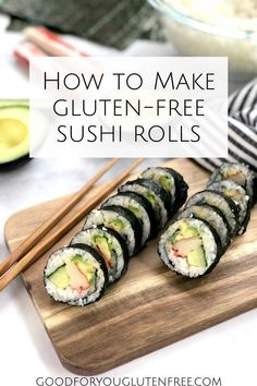 How to Make Sushi Rolls - Naturally Gluten-Free Sushi Gluten Free Recipes gluten free sushi Gluten Free Sushi, Best Gluten Free Recipes, Healthy Recipes, Gf Recipes, Sushi Roll Recipes, How To Make Sushi, Gluten Free Living, Sushi Restaurants, Sushi Rolls