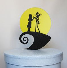 Wedding Cake Topper -The Nightmare Before Christmas Jack and Sally with a yellow moon