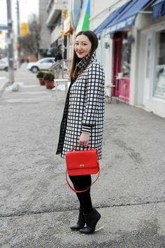 #AnnTaylor coat, #JCREW bag, #HM x #Margiela Boots, and red lip!