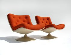 pair of original geoffrey harcourt F978 orange swivel lounge chairs by artifort en vente sur eBay.fr 2.020,99 EUR