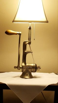 Antique meat grinder lamp by CreativeMarc on Etsy