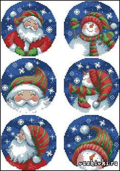 Santa & Snowman Ornaments (Dimensions)