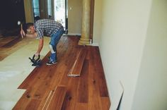 Working in the Buchanan Estates Home. 7 1/2 inch French White Oak. ( Fresno, CA. ) Done by Todd's Hardwood Flooring.