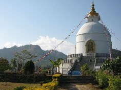 The World Peace Pagoda outside of Pokhara - Lakeside in Pokhara ...